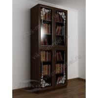 Книжный шкаф для дома с пескоструйным рисунком на 4 стеклах венге
