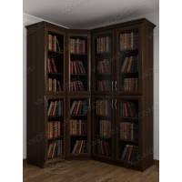 Темный угловой шкаф для книг в гостиную с гладким фасадом