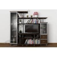 Маленькая стенка под телевизор «Санремо-8» со шкафами для посуды венге