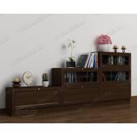 Книжный шкаф сервант в гостиную горка с витражем с фигурным фасадом