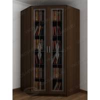 Витражный угловой книжный шкаф сервант венге