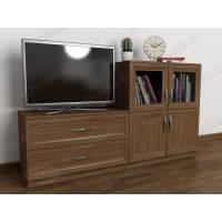Современная тумбочка под телевизор с выдвижными ящиками цвета ясень шимо темный