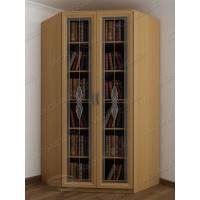 Угловой закрытый книжный шкаф с витражем