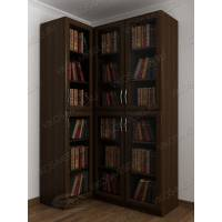 Темный угловой книжный шкаф со стеклом венге