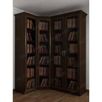 Угловой закрытый книжный шкаф с гладким фасадом