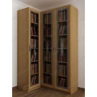 Светлый закрытый угловой книжный шкаф со стеклянными дверями
