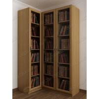 Угловой книжный шкаф со стеклом бук