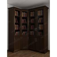 Угловой шкаф для книг венге