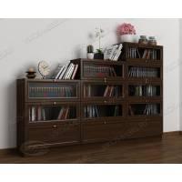 Широкий книжный шкаф сервант горка цвета венге