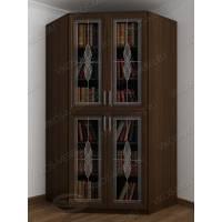 Темный угловой закрытый шкаф для книг цвета венге