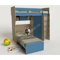 """Детская мебель """"Карлсон-3"""" с двумя кроватями, лестницей и книжной полкой"""