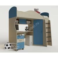 """Детская мебель """"Волна"""" с кроватью-чердаком и металлической лестницей"""