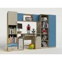 Детская мебель № 2 с открытыми полками и шкафами