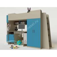 Детская кровать-чердак «Карлсон» со столом и шкафом