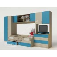Детская стенка с кроваткой, шкафом и тумбой под ТВ