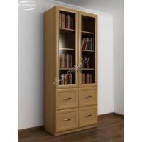 Двухстворчатый книжный шкаф с выдвижными ящиками бук