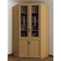 Книжный шкаф сервант в гостиную с витражем с фигурным фасадом цвета бук