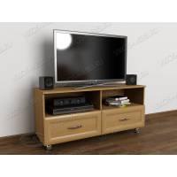 Светлая тумбочка под телевизор с открытыми полками цвета бук