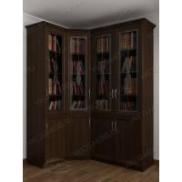 Угловой закрытый книжный шкаф сервант с витражем венге