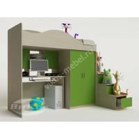 Кровать-чердак «Карамель» для подростка цвет зеленый