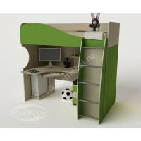 Кровать-чердак «Гном» с рабочей зоной цвет зеленый