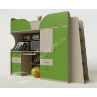 Детская кровать-чердак «Егорка»  для подростка цвет зеленый