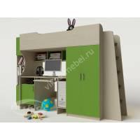 Кровать-чердак «Карлсон» для подростка цвет зеленый