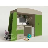 Кровать-чердак «Сказка-1» для подростка цвет зеленый