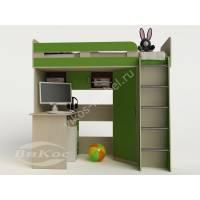 Кровать-чердак «Карлсон-1» для детей цвет зеленый