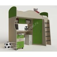 Двухъярусная кровать-чердак «Волна» со шкафом цвет зеленый