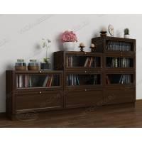 Темный книжный шкаф в гостиную горка с фигурным фасадом