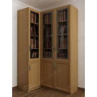 Угловой шкаф для книг в гостиную с фигурным фасадом