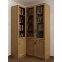 Светлый 3-x створчатый угловой шкаф для книг в гостиную цвета бук