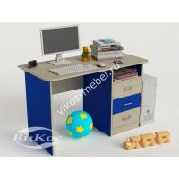 Компьютерный стол для дома с ящиками цвет синий