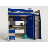 Кровать-чердак «Карлсон-2» для детей цвет синий