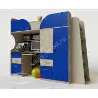 Кровать чердак «Егорка» со столом и шкафом цвет синий