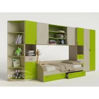 Современная модульная детская стенка с кроваткой, шкафчиками и полками