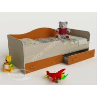 Мягкая детская кровать с бортиками цвет оранжевый