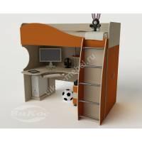 Детская кровать-чердак «Гном» с ящиками и шкафом