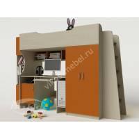 Кровать-чердак «Карлсон» для девочки цвет оранжевый