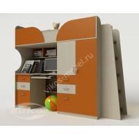 Двухъярусная кровать-чердак «Егорка» со шкафом и лестницей