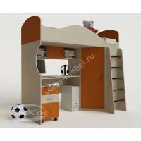 Детская кровать-чердак «Волна» с ящиками и столом