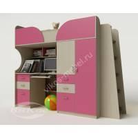 Кровать-чердак «Егорка» со столом для девочки цвет розовый