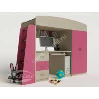 Двухъярусная кровать-чердак «Сказка-1» для девочки цвет розовый