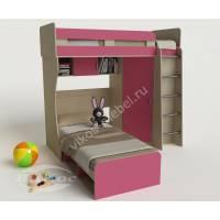 Двухъярусная кровать «Карлсон-3» со шкафом для девочек