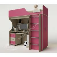 Двухъярусная кровать-чердак «Теди» для девочки цвет розовый