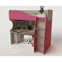 Детская кровать-чердак «Гном» для девочки цвет розовый