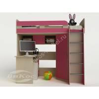 Кровать-чердак «Карлсон-1» от 5 лет цвет розовый