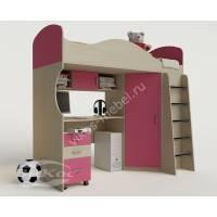 Кровать-чердак «Волна» для девочки цвет розовый