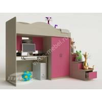 Кровать-чердак «Карамель» со шкафом для девочки